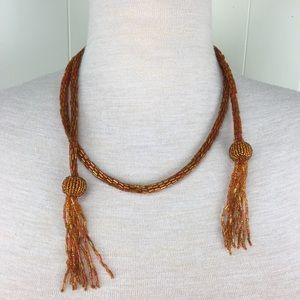 Vintage Art Deco Lariat Fringe Wrap Necklace
